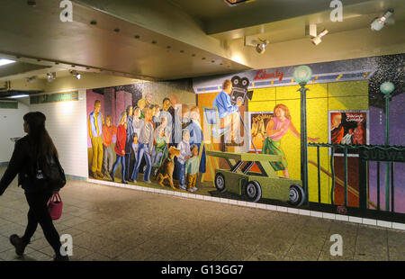 Subway passageway at Times Square in New York City, USA - Stock Photo