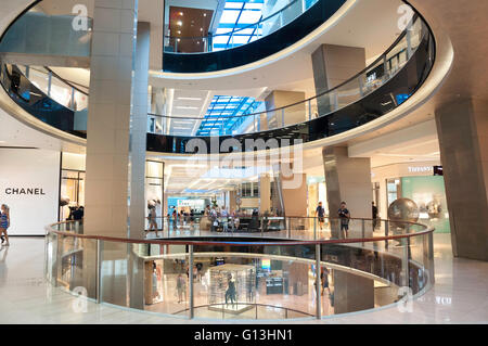 Interior atrium of Westfield Shopping Centre, Bondi Junction, Sydney, New South Wales, Australia - Stock Photo