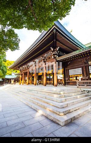 Tokyo, Japan - February 16, 2015: Meiji Shrine located in Shibuya, Tokyo, is the Shinto shrine that is dedicated - Stock Photo