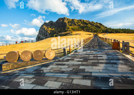 View of Seongsan Ilchulbong moutain in Jeju Island, South Korea. - Stock Photo