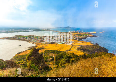 View from Seongsan Ilchulbong moutain in Jeju Island, South Korea. - Stock Photo