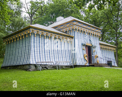 tent in Drottningholm Palace located in Stockholm, Sweden - Stock Photo