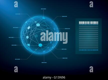 Infographic sphere with connected dots and lines. Elements are layered separately in vector file. - Stock Photo