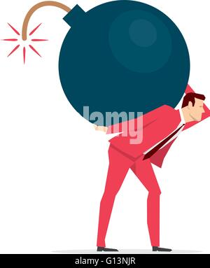 Red suit businessman carrying a big bomb.. Vector concept illustration. - Stock Photo