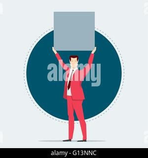 Businessman in red suit. Holding a board. Flat style vector illustration. - Stock Photo