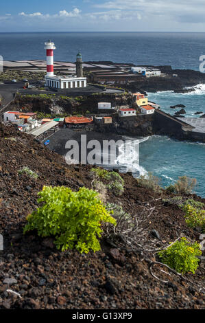 Playa del Faro, lighthouse and saltpans in Fuencaliente in the south of the island La Palma, Canary Islands, Spain - Stock Photo