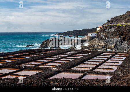 Saltpans of Punta en Faro, Fuencaliente in the south of the island La Palma, Canary Islands, Spain - Stock Photo