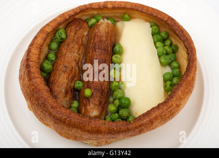 Traditional British  'Toad in the Hole' meal - Stock Photo