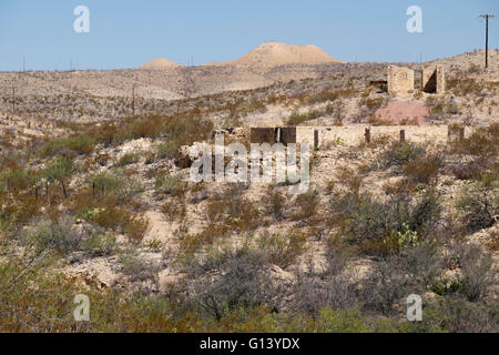 Adobe ruins in the Terlingua ghost town of deep south Texas, USA. - Stock Photo