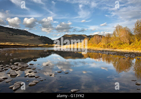 WY01648-00...WYOMING - Clouds reflecting in Slough Creek in Yellowstone National Park. - Stock Photo