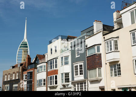 Row of heritage properties on Spice Island in Old Portsmouth. Portsmouth's landmark Emirates tower can be seen in - Stock Photo