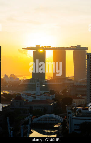 South East Asia, Singapore, sunrise at Clarke Quay and Marina Bay Sands Hotel and Casino - Stock Photo