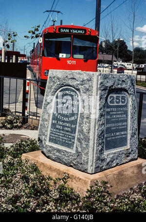 A granite monument marks the border between the United States and Mexico in San Ysidro at the southernmost end of - Stock Photo