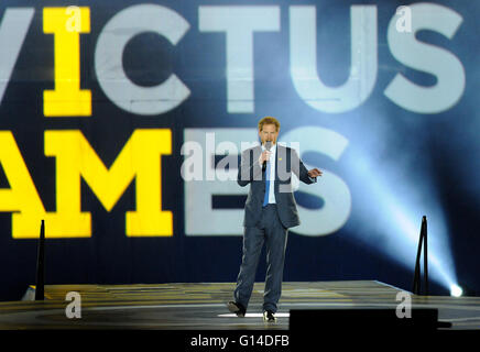 Orlando, Florida, United States. 8th May, 2016. Britain's Prince Harry speaks during the opening ceremony of the - Stock Photo
