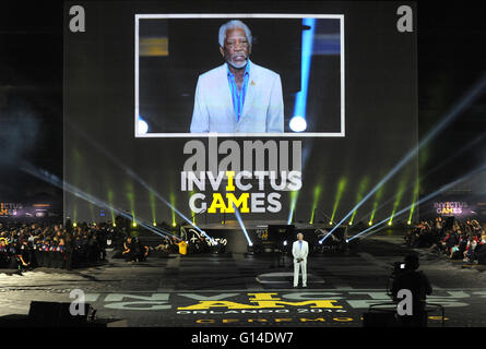 Orlando, Florida, United States. 8th May, 2016. Actor Morgan Freeman speaks during the opening ceremony of the 2016 - Stock Photo