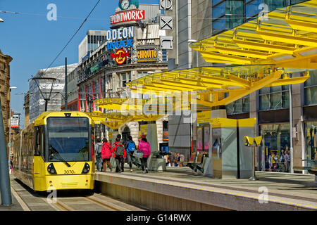 Manchester Metrolink Tram station at Corporation Street, Exchange Square, Manchester, Greater Manchester, England - Stock Photo