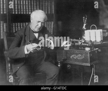 Thomas Alva Edison (1847-1931) was an American inventor and businessman. He developed many devices that greatly - Stock Photo