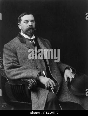 Portrait of John Singer Sargent (January 12, 1856 - April 14, 1925), an American artist remembered especially for - Stock Photo