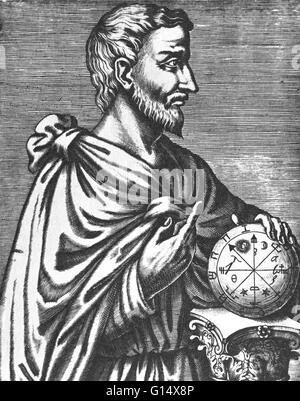 Pythagoras of Samos (570 - 495 BC) was an Ancient Greek philosopher, mathematician, and founder of the religious - Stock Photo
