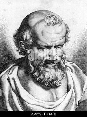Democritus of Abdera (472/457-370/360 BC) pre-Socratic Greek philosopher and the father of atomic theory. Democritus - Stock Photo