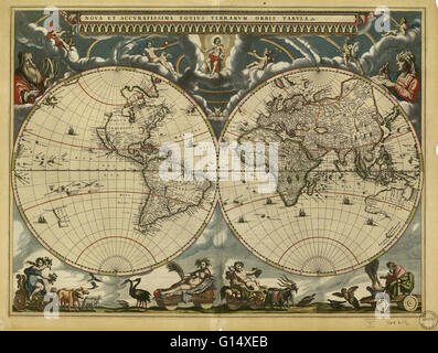 World map, published around 1664 in Amsterdam, the Netherlands, by Dutch mapmaker Joan Blaeu (c.1599-1673). The - Stock Photo