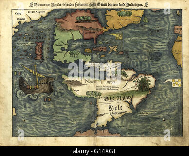 16th century map of the Americas. Published in 1550, this German map shows a rudimentary geography of the newly - Stock Photo