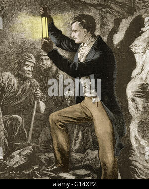 Davy demonstrating this lamp to coal miners. Humphry Davy, 1st Baronet (December 17, 1778 - May 29, 1829) was an - Stock Photo