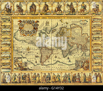 Chart of the world from 1626. 'Nova Totius Terrarum Orbis Geographica ac Hydrographica Tabula.' Engraving by Johannes - Stock Photo