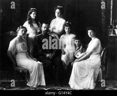 Portrait of Tsar Nicholas II and his family, from the series of pictures taken to mark the Romanov tercentenary - Stock Photo