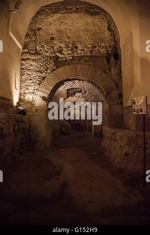 Subterranean ruins of an ancient Roman market, monumental complex of San Lorenzo - Province of Naples, Campania, - Stock Photo
