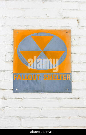 1960s Nuclear war Fallout Shelter sign sign at the Colbert County Courthouse in Tuscumbia, Alabama - Stock Photo
