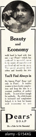 Original old vintage American magazine advert from the Edwardian era dated 1910. Advertisement advertising Pears - Stock Photo