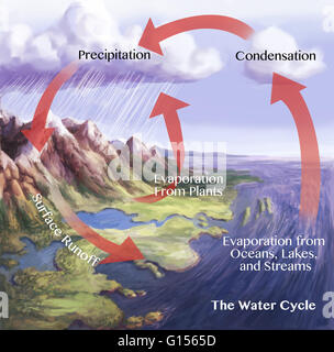 Water cycle illustration. The red arrows here show some of the ways by which water is constantly being redistributed. - Stock Photo
