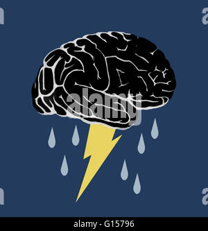 Conceptual illustration of a brainstorm. The lightning at the base of the brain could represent the electrical activity - Stock Photo