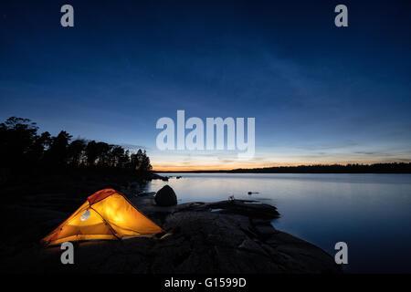Camping at Tallholmen island, Loviisa, Finland, Europe, EU - Stock Photo