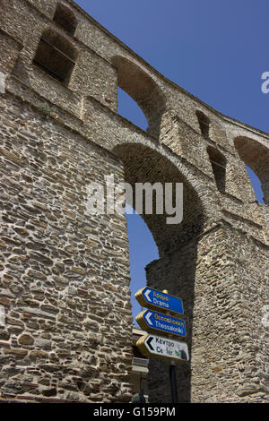 The Kamares historical aqueduct monument & landmark in the old city, Panagia district area, Kavala city or Neapolis, - Stock Photo