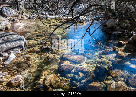 The River Manzanares along its course through La Pedriza, in Guadarrama Mountains National Park, Madrid, Spain - Stock Photo
