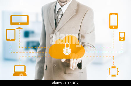 Hand carrying businessman icon network - HR,HRM,MLM, teamwork and leadership concept - Stock Photo