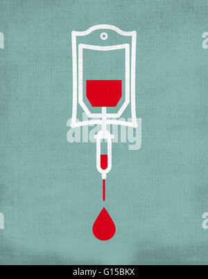 blood transfusion bag dripping with blood drop - Stock Photo