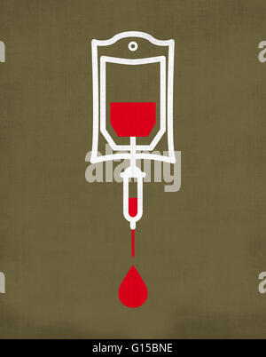 blood transfusion bag dripping with blood drop isolated on brown red background - Stock Photo