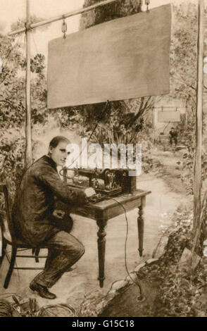 An illustration of Guglielmo Marconi (1874-1937), then aged 21, in his father's garden at Pontecchio, conducting - Stock Photo