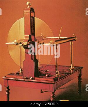18th century Ramsden-type plate electrostatic generator. - Stock Photo