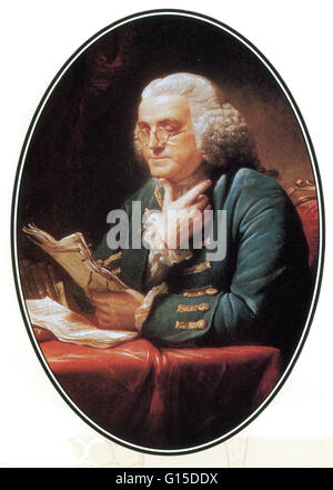Oval section of a 1767 portrait of Benjamin Franklin by the British artist David Martin. The painting is now on - Stock Photo