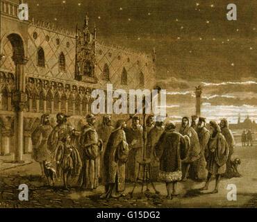 Galileo and his telescope in Venice. 1609. Galileo shows the satellites of Jupiter to Venetian senators. Galileo - Stock Photo