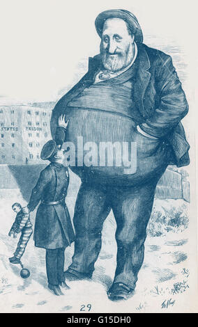 Satirical political cartoon of William Magear Tweed. 'Can the law reach him? The dwarf and the giant thief.' - Stock Photo