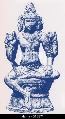 Brahma is the Hindu god (deva) of creation and one of the Trimurti, the others being Vishnu and Shiva. According - Stock Photo