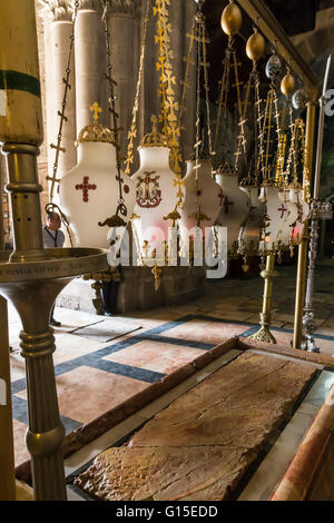 Stone of Unction, Church of the Holy Sepulchre, Old City, Jerusalem, UNESCO World Heritage Site, Israel, Middle - Stock Photo