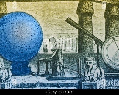 Claudius Ptolemy (AD c100-170), Greek-Egyptian astronomer, geographer and mathematician at his observatory in Alexandria, - Stock Photo