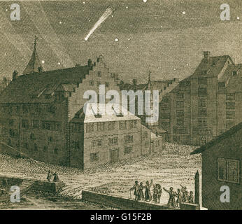 A comet over an administrative building of the monastery of Einsiedeln in Zurich on the night before the 10th March, - Stock Photo