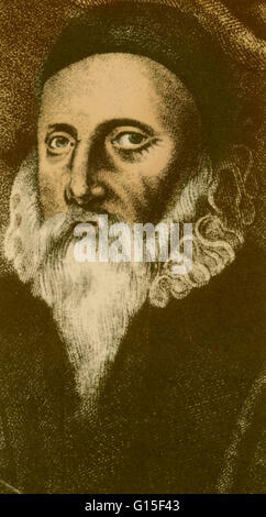 John Dee (1527-1608 or 1609) was an English mathematician, astronomer, astrologer, occultist, navigator, imperialist - Stock Photo